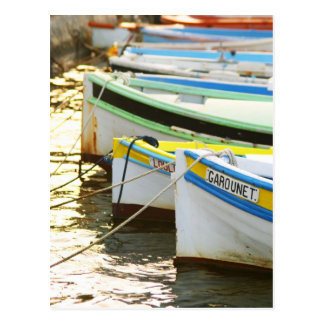 Typical Provencal fishing boats painted in Postcard