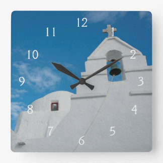 Typical whitewashed church square wall clock