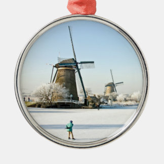 Typically dutch ice skating  at Kinderdijk Holland Christmas Ornament