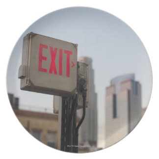 typically exit sign glows bright in the blue dinner plates