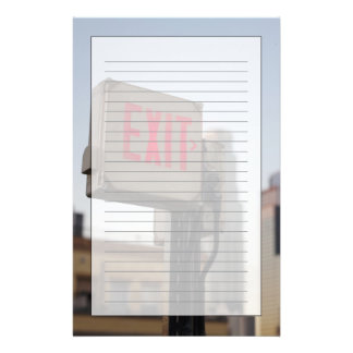 typically exit sign glows bright in the blue stationery