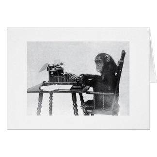 Typing Monkey Greeting Card