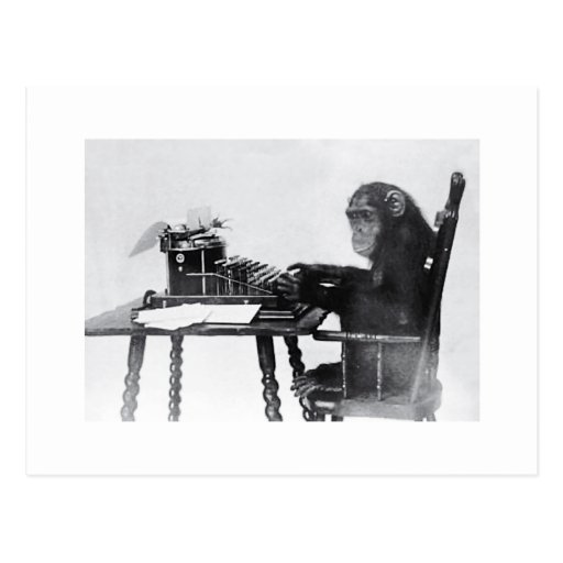 Typing Monkey Post Cards