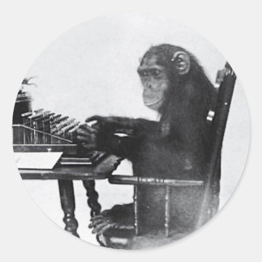 Typing Monkey Round Sticker
