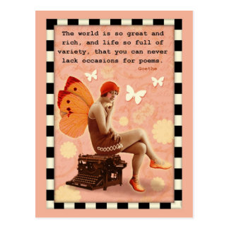 Typing Poetry Fairy Postcard