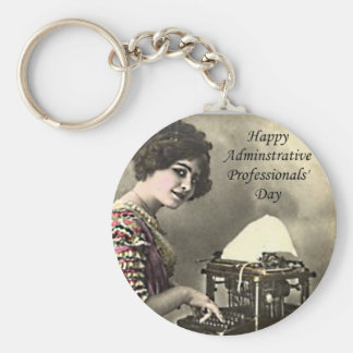 Typist Administrative Professional Day Vintage Pho Basic Round Button Key Ring