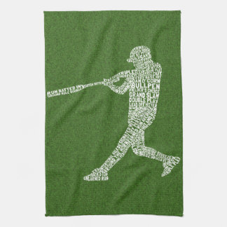 Typographic Baseball Softball Player Tea Towel