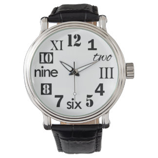 Typographic Fun Numbers Wristwatch