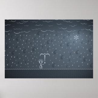 Typographic Rain Poster