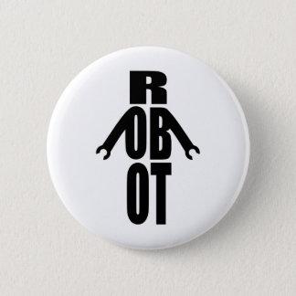 Typographic Robot 6 Cm Round Badge