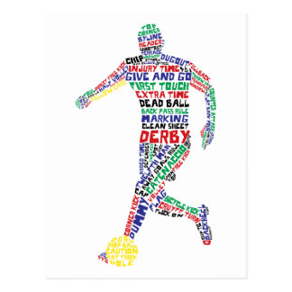 Typographic Soccer Player Postcard