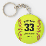 Typographic Softball Team Basic Round Button Key Ring
