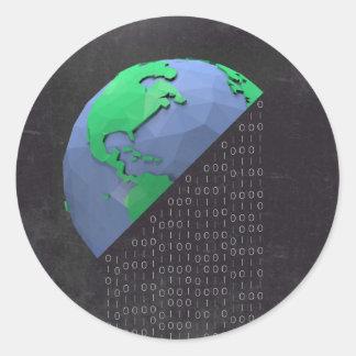 Typographic Sticker - Binary Code Planet