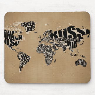 Typographic World  Map Mouse Mat