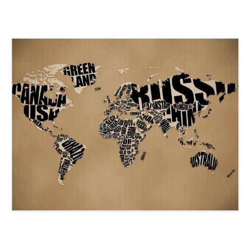 Typographic World  Map Postcards