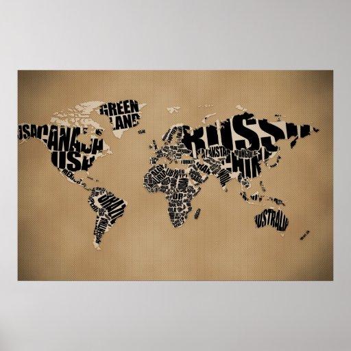 Typographic World  Map Print