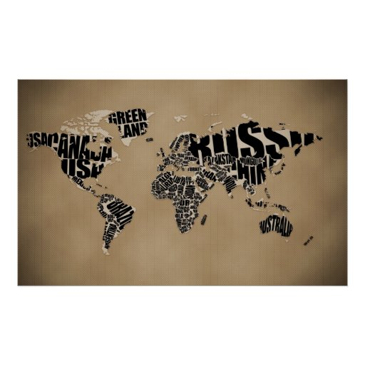 Typographic World Map Posters