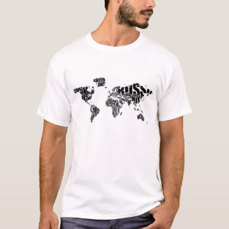 Typographic World  Map T-Shirt
