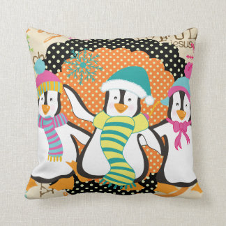 Typography and Penguins Christmas Holiday Pillow