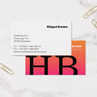 Typography and pink colour business card