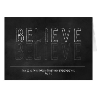 TYPOGRAPHY ART - CHALKBOARD - BELIEVE - CHRISTIAN CARD