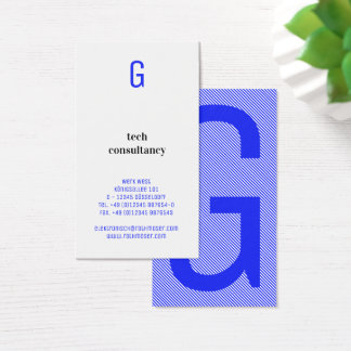 Typography based blue business card