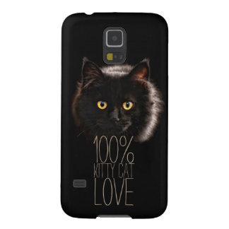 Typography Black Cat 100% Kitty Cat Love Galaxy S5 Case