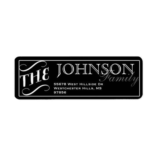 Typography Black & White Return Address Label