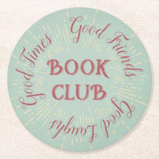 Typography Book Club Round Paper Coaster