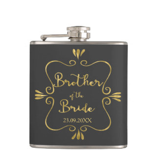 Typography Brother of the Bride Funny Hip Flask