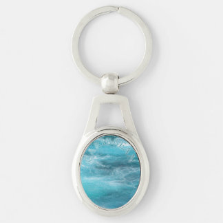 "Typography ""Caribbean"" Turquoise Ocean Abstract Key Ring"