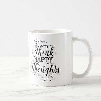 Typography Coffee Mug, Think Happy Thoughts Basic White Mug