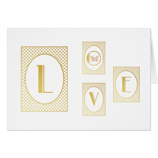 Typography Elegant Gold Art Deco Love Butterfly Card