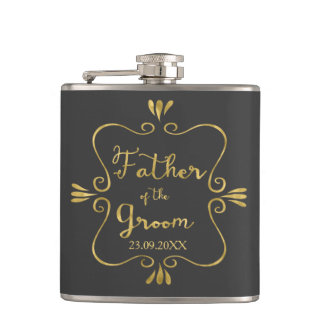 Typography Father of the Groom Funny Hip Flask