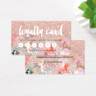Typography floral watercolor rose gold loyalty business card
