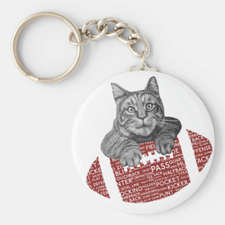 Typography funny American football Cat Key Chains
