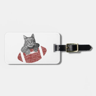 Typography funny American football Cat Tags For Luggage