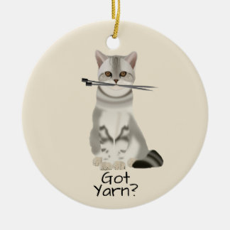 "Typography | ""Got Yarn"" Cat with Knitting Needles Christmas Ornament"