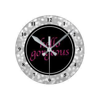 Typography Hello Gorgeous   Silver Bokeh Hot Pink Wallclock