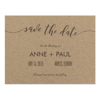 Typography & kraft paper Save the Date Postcard