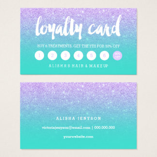Typography lavender glitter turquoise loyalty card