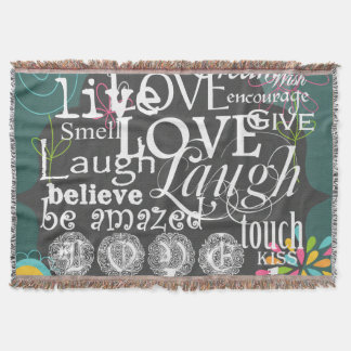 Typography Live and Laugh Throw