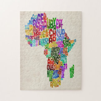 Typography Map of Africa Puzzles