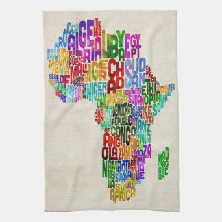Typography Map of Africa Tea Towel