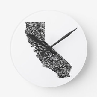 Typography map of California Clock