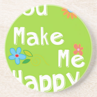 Typography Motivational Phrase - Lime Green Drink Coaster