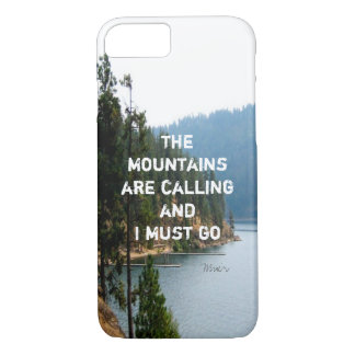 typography Muir quote the mountains are calling iPhone 7 Case
