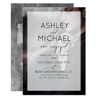 Typography Photo Engagement Party Invitation