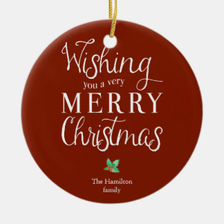 Typography Photo Merry Christmas Christmas Ornament