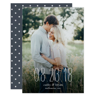 Typography photo save the date card
